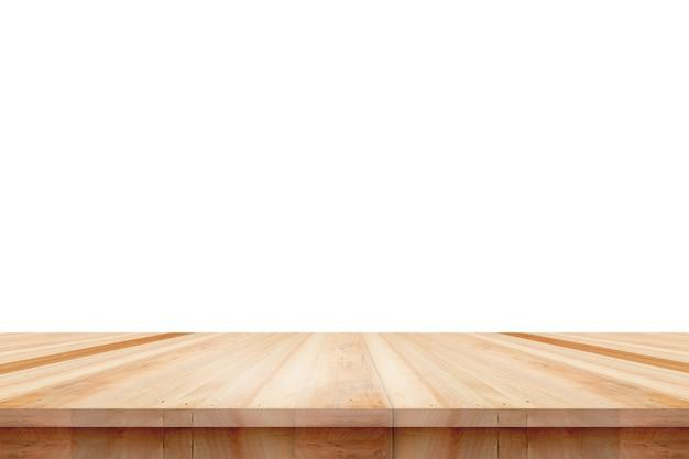 Piano del tavolo in legno vuoto isolato su sfondo bianco, utilizzato per visualizzare o montare i tuoi prodotti