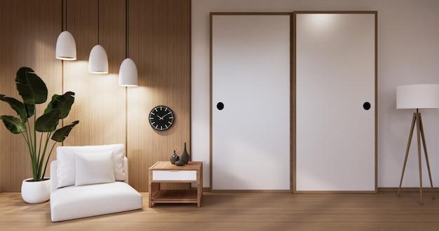 Design vuoto della parete in legno e mini divano