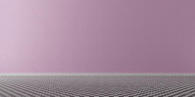 Stanza vuota con parete rosa.