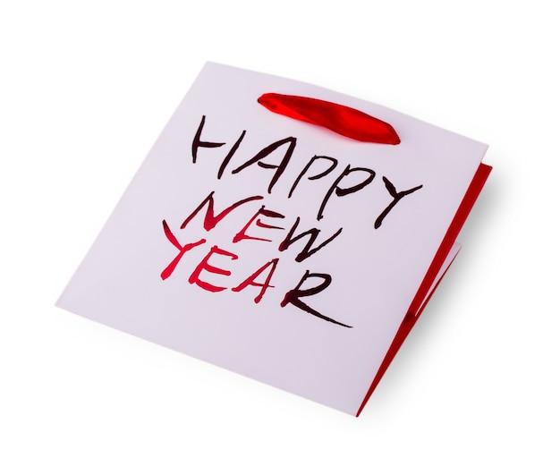 Borsa empy new years con manici su sfondo bianco