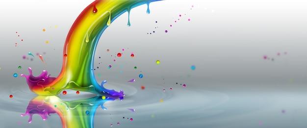 Fine dell'arcobaleno splash su uno sfondo chiaro