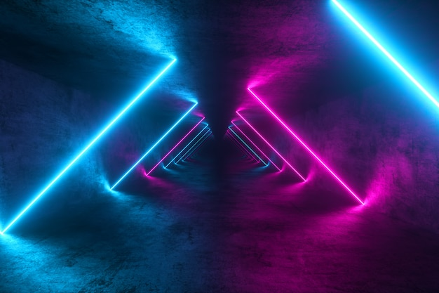 Tunnel di metallo senza fine con luci al neon