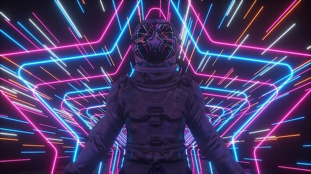 Un infinito tunnel di stelle al neon si muove lungo l'astronauta