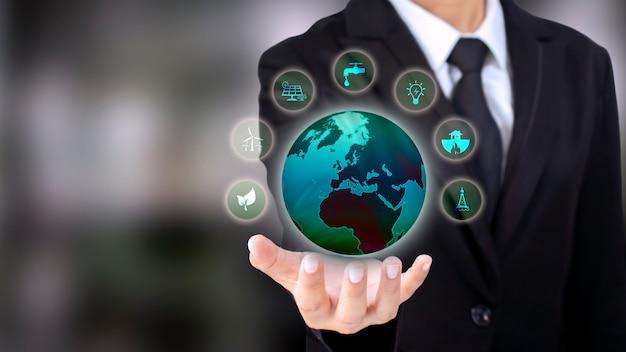 Energy business investment ideas icona di energia pulita rispettosa dell'ambiente