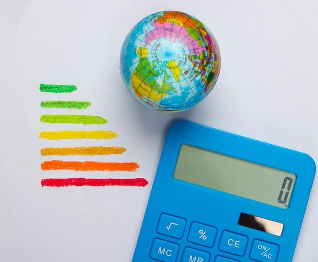Valutazione, globo e calcolatore di efficienza energetica su un concetto bianco di eco