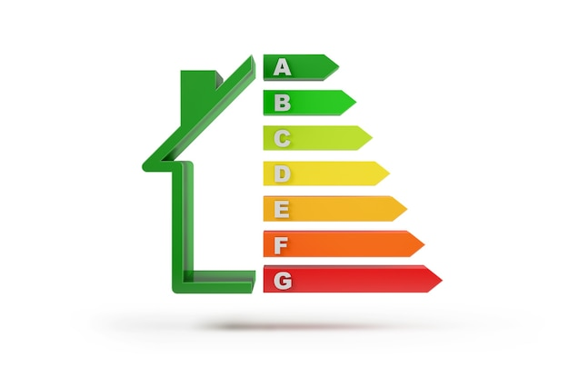 Scala di classificazione energetica isolata dallo sfondo bianco