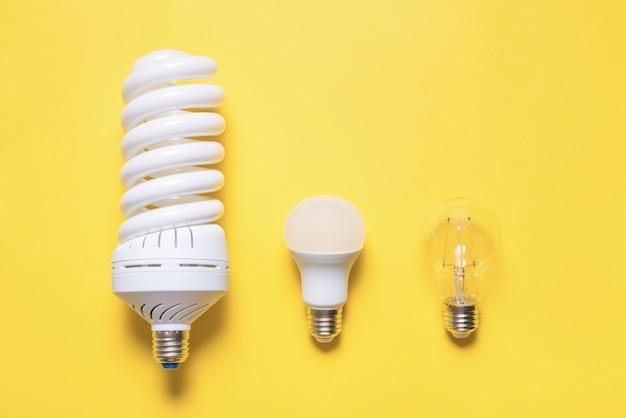 Lampada a risparmio energetico su sfondo colorato