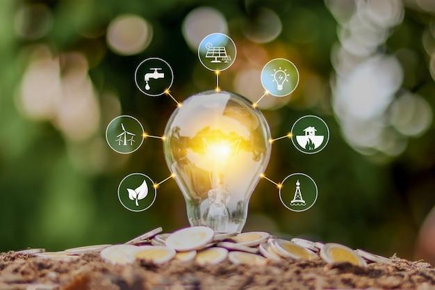 Lampada a risparmio energetico e icona energetica ecologica, concetto di giornata della terra e risparmio energetico