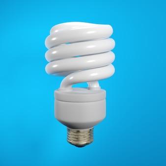 Lampada a risparmio energetico isolata sull'azzurro. illustrazione 3d