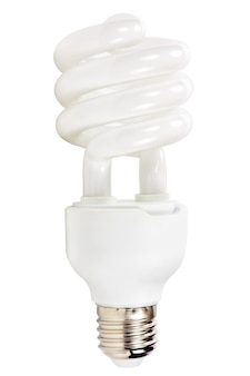 Lampada a risparmio energetico isolata su sfondo bianco