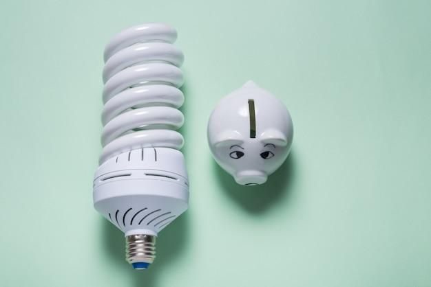 Lampade a risparmio energetico e salvadanaio su sfondo colorato