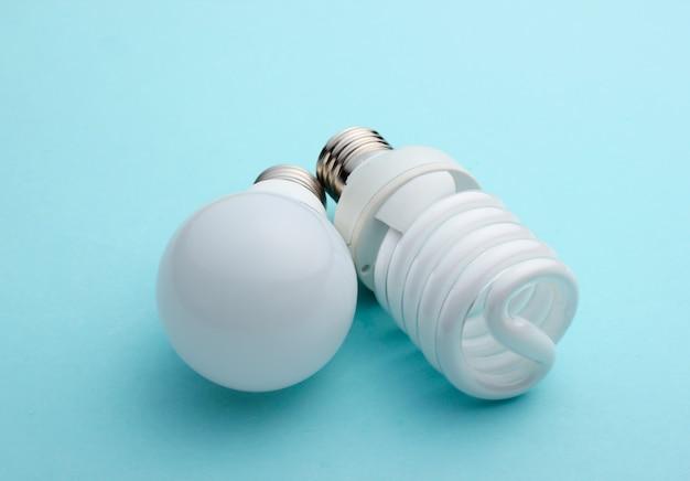 Primo piano della lampadina a risparmio energetico su sfondo blu pastello
