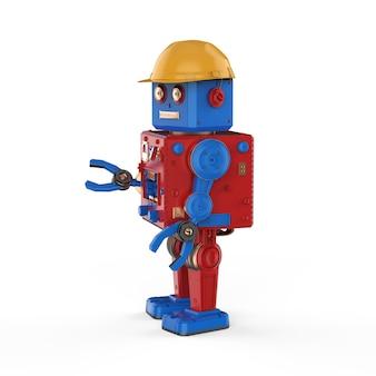 Ingegnere robot concetto con 3d rendering robot giocattolo di latta con elmetto