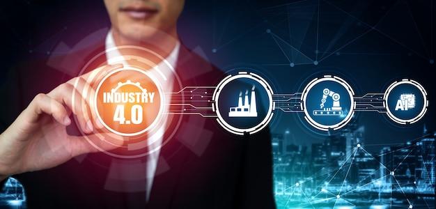 Tecnologia di ingegneria e concetto di fabbrica intelligente di industria 4.0