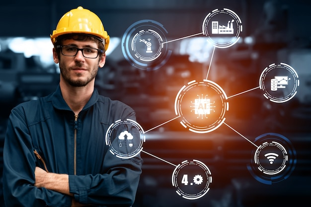 Tecnologia di ingegneria e industria 40 concetto di fabbrica intelligente
