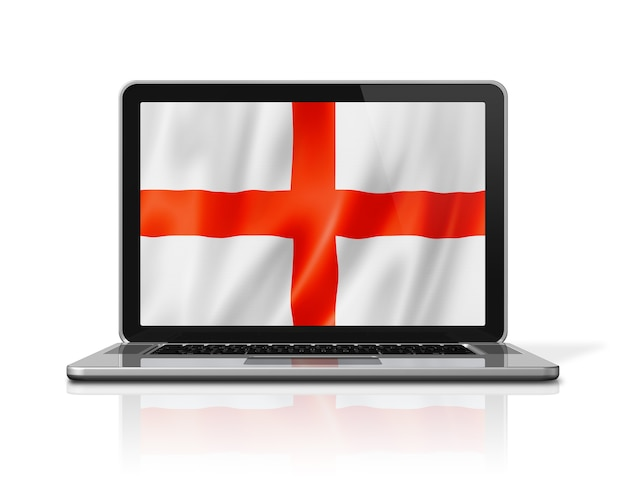 Bandiera dell'inghilterra sullo schermo del computer portatile isolato su bianco. rendering di illustrazione 3d.