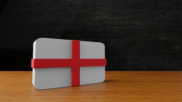 Inghilterra bandiera quadrata rendering 3d