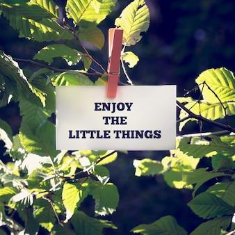 Goditi il messaggio motivazionale delle piccole cose su una carta bianca