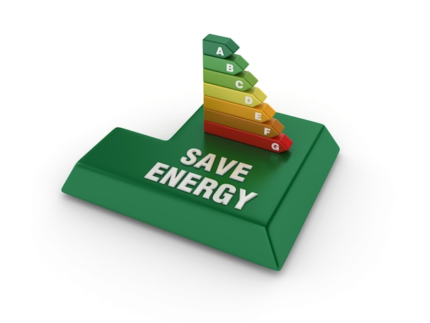 Tasto invio con diagramma di efficienza energetica
