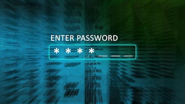 Inserisci la schermata del concetto di password con una casella della password e asterischi. astratto sfondo sfocato blu con verde.