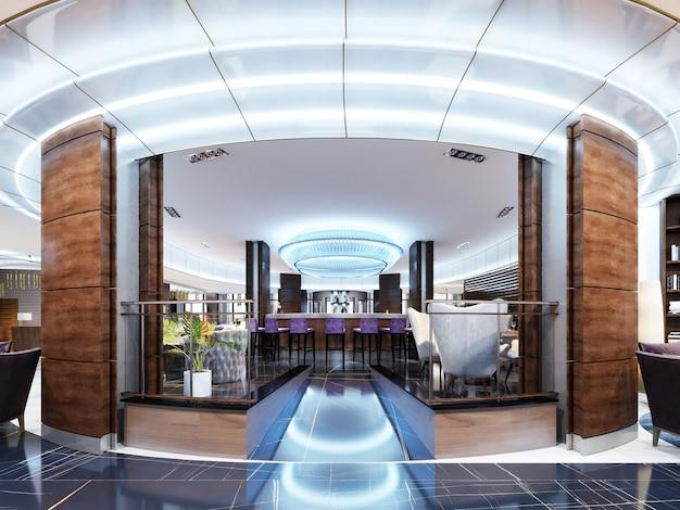L'ingresso al bar è un ristorante di un hotel di lusso in stile moderno. rendering 3d