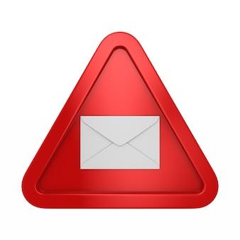 Busta in triangolo rosso su bianco. illustrazione 3d isolata