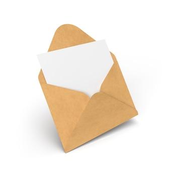 Busta con lettera isolata su bianco. illustrazione 3d