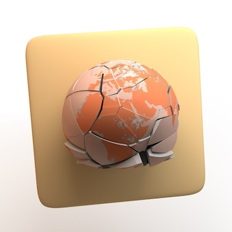 Icona dell'ambiente con pianeta rotto isolato su priorità bassa bianca. app. illustrazione 3d.