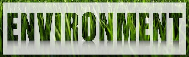 Parola di ambiente sul banner bianco sullo sfondo dell'erba verde.