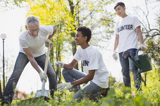 Organizzazione ambientale. basso angolo di vigorosi tre volontari che piantano alberi e sorridono