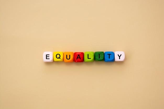 Testo della parola uguaglianza composto da cubi di legno colorati. concetto sociale inclusivo e di tolleranza, vista dall'alto