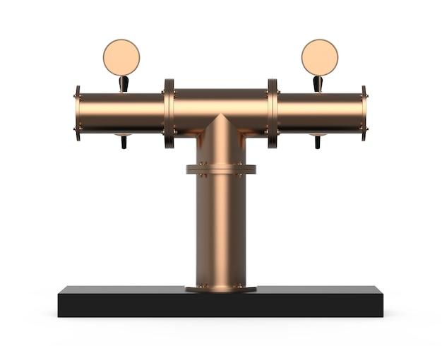 Attrezzatura per bar illustrazione 3d isolata su sfondo bianco pompa per birra in nichel metallico