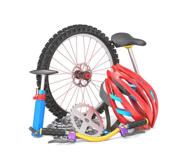 Attrezzatura per la bicicletta isolata su bianco