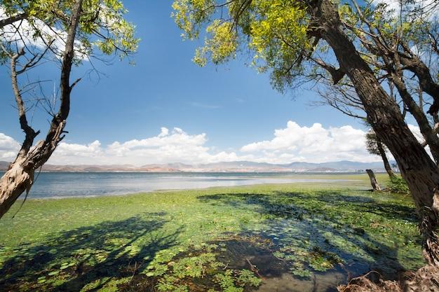 Lago erhai a dali, nella provincia dello yunnan in cina.