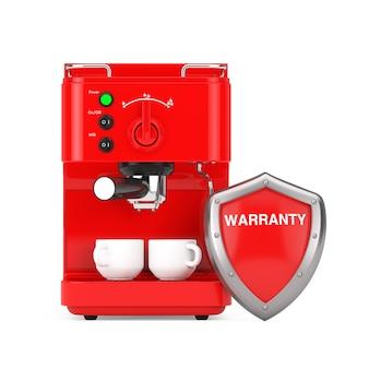 Macchina per caffè espresso con scudo di garanzia di protezione in metallo rosso su sfondo bianco. rendering 3d