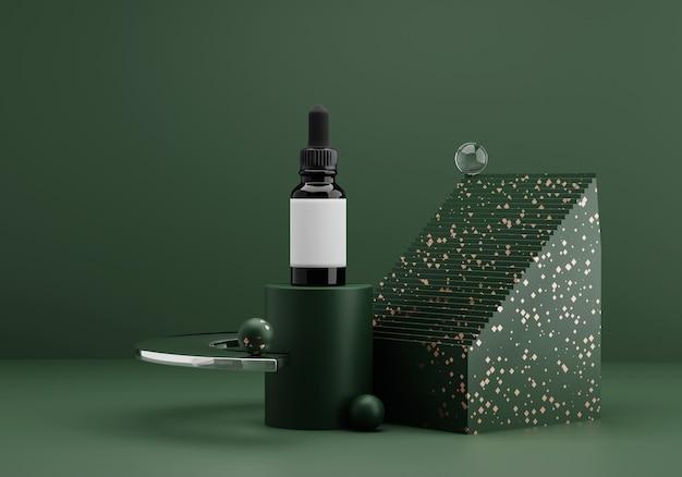 Mockup di bottiglia di olio essenziale. composizione astratta moderna contemporanea nei toni del verde scuro con