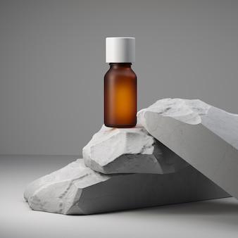 Olio essenziale e pietre bianche impilate su sfondo bianco. mock up con copia spazio. concetto di benessere e cosmesi naturale. illustrazione 3d.