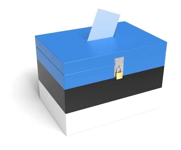 Urna elettorale dell'estonia con bandiera estone. isolato su sfondo bianco.