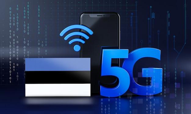 Estonia pronta per il concetto di connessione 5g. sfondo di tecnologia smartphone rendering 3d