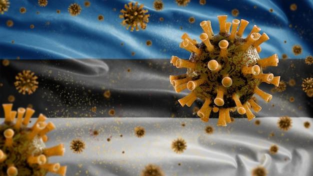 Virus del microscopio del coronavirus bandiera sventolante estone