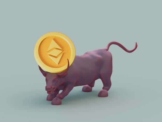 Ethereum bull acquista la crescita degli investimenti sul mercato crypto currrency 3d illustration render