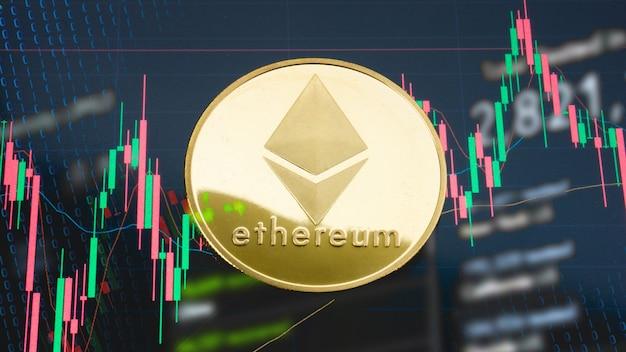 La moneta ethereum sul grafico aziendale per la crittografia o il concetto di business
