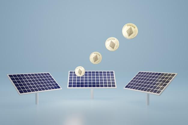 La moneta di ethereum si illumina sul rendering 3d del pannello a celle solari