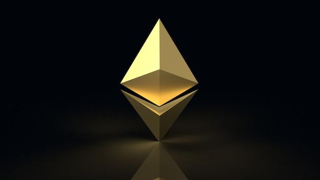 Rappresentazione di criptovaluta 3d di simbolo della moneta di ethereum