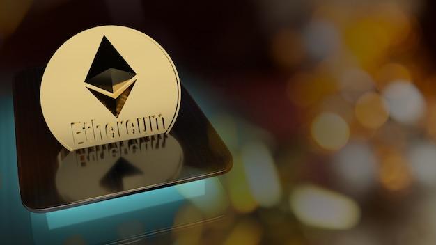 Le monete ethereum su tablet per il rendering 3d di contenuti aziendali.