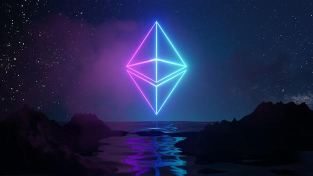 Concetto di sfondo astratto di tecnologia di criptovaluta ethereum. il logo bagliore rosa blu si riflette sull'acqua e sullo sfondo del paesaggio in blu. rendering dell'illustrazione 3d.