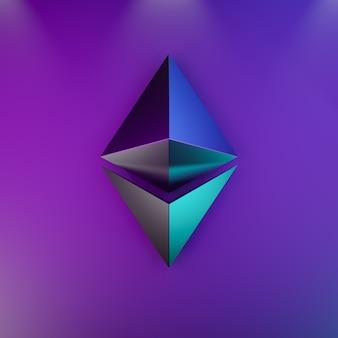 Concetto di sfondo astratto di tecnologia di criptovaluta ethereum. logo in metallo rosa blu su sfondo futuristico in blu. rendering dell'illustrazione 3d.