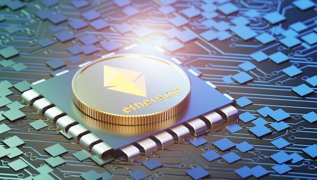 Moneta d'oro ethereum con chip su sfondo scuro del circuito stampato. rendering dell'illustrazione 3d.