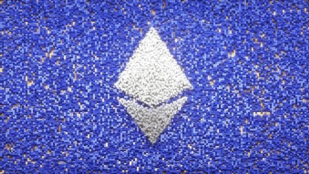 Il logo di ethereum sul pixel del cubo abtract il concetto di sfondo critovaluta 3d illustrazione
