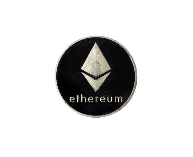 Etherium o moneta d'argento etherum isolata su bianco. vista dall'alto del simbolo eth.